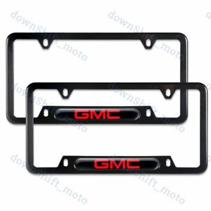 For 2PCS GMC Black License Plate Frame Stainless Steel Metal New