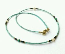 Afghan Turquoise Tiny Seed Beads Minimal Necklace with Malachite, Brass & Pearls