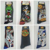 2 Pair Looney Tunes Men's Socks Shoe 6-12 Crew Gift Bunny, Sylvester, Taz L26