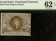 Unc 5 Cent Fractional Currency United States Note Paper Money Fr 1232 Pmg 62 Epq