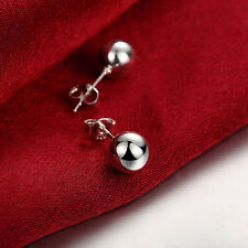 925 Silver Solid Classic Small Ball Bead Earring Piercing Ear Stud Party Jewelry