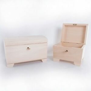 Wooden Treasure Chest Box With Key / Jewellery Memory Plain Wood Decoupage Gift