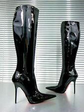CQ COUTURE CUSTOM KNEE HIGH BOOTS STIEFEL STIVALI PATENT LEATHER BLACK NERO 37