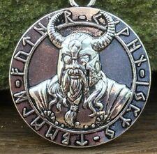 Odin Warrior Pendant Necklace Antique Silver Plate Celtic Viking