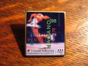 United Airlines Olympic Pin - Vintage 1998 Nagano Japan Tulip Logo UAL Games Pin