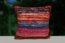 Indian Hand Loomed Cushion Cover 16x16 Rag Rug Pillow Cases 2 Pcs Square Cushion