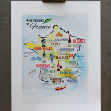 French Wine Map, Map of the Wine Regions of France, 8 1/2 x 11