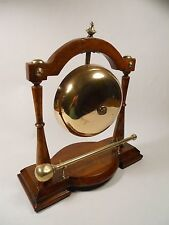 Edwardian Antique Oak & Brass Table Top Dinner Gong and Mallet, c 1901-1910