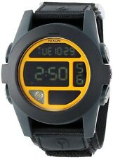 Nixon Watch A489 1323 BAJA Black Blue Steel Neon Org Digital 50 MM Nylon Strap