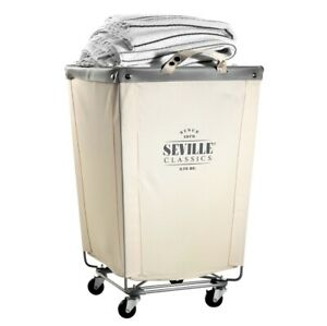 Seville Classics, Commercial Heavy-Duty Canvas Laundry Cart w Locking Casters