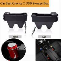 1Pair Car Seat Gap Storage Box Cup Holder Coin Wallet Organizer Dual USB Charger