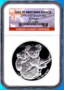 1 AU Dollar Silber Koala 1 Unze Oz Silber 2008 NGC One of  First 8.000