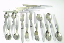 Set of 16 Clear Acrylic Flatware Service for 4 Spoons Forks Knives Stainless