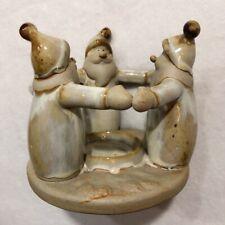 Taper Candle Candlestick Holder Santa Friend Christmas Winter VTG Rustic Ceramic