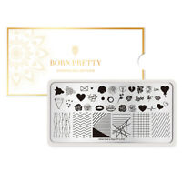 BORN PRETTY Rectangle Nail Art Stamping Plates  Line Rose Layer Valentine's Day