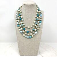 Vtg Japan 4 Strand Necklace Blue White Glass Plastic Beads Multi 1950s Signed