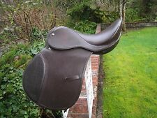 "ALL PURPOSE / CLOSE CONTACT ENGLISH LEATHER RIDING HORSE SADDLE 16"" BROWN  #147"