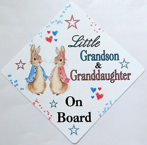 Handmade Little Grandson & Granddaughter Baby on Board Car Sign