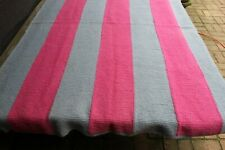 Vintage Handmade Knitted Wide Solid Striped Afghan/Throw Pink Gray