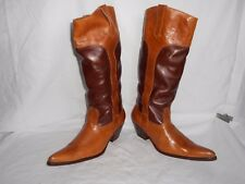 Women's La Mundial Tan Handcrafted Leather Western Knee High Boots Size 7 B
