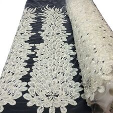 """Off White Bridal Liatris floral Lace Sequins Beaded Scallop Fabric Dress 52"""" BTY"""