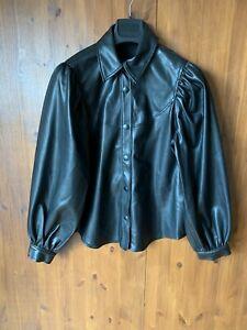 ZARA OVER SHIRT TOP Black Faux Leather Shacket Big Sleeves M / UK 12 / 40 - NEW