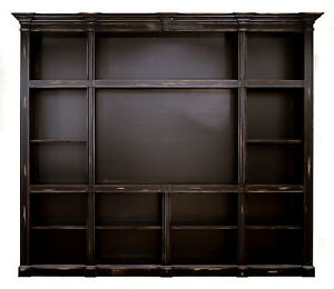 Large Custom French Old World Style Media Center Shelving Unit