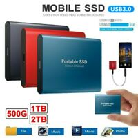 """USB 3.0 External SSD Solid State Drives 2TB 2.5"""" Portable Mobile Hard Drive New"""