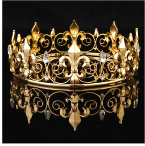 Mens King Crown Prince Medieval Costume imperial Head Wear Gold Silver Royal