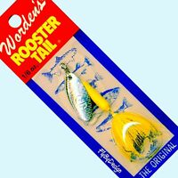NEW Rooster Tail SILVER / YELLOW Spinner Fishing Lures - Choice Size & Quantity