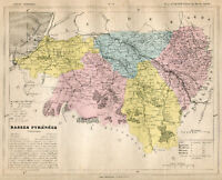 Genuine Original Antique 1877 France Hand Colored Map BASSES PYRENEES French