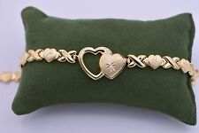 """7.25"""" Hearts & Kisses Bracelet Stampato 14K All Yellow Gold Clad Silver XOXO 925"""