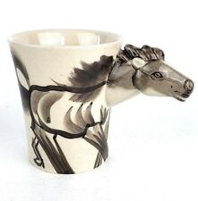 Horse Coffee Cup Gray Horse Head Handle Novelty