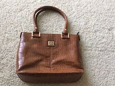 Anne Klein Brown Handbag Purse Shopper Double Handle Gold Metal Trim
