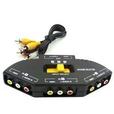 3 Fach Audio Video Umschalter Verteiler AV Cinch/RCA Splitter Box mit Cinchkabel