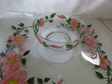 FRANCISCAN DESERT ROSE CLEAR SQUARE GLASS PARTY TRAY WITH BOWL CHIPS VEGGIES DIP