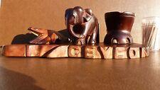 Hand Carved Wooden Ashtray CEYLON SOUVENIR Elephant, Crocodile & Elephant Foot
