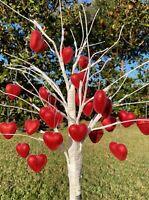 Valentine's Day Glitter Heart Ornaments Tree Decor 30pc Red Heart Decorations