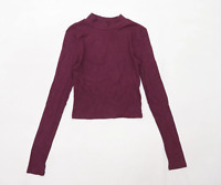 H&M Womens Size XS Cotton Burgundy Cropped Top (Regular)