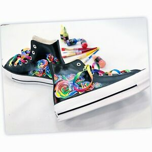 """Converse Women's Chuck Taylor Sneakers, decorated """"Colorful Roses"""". Size 8."""