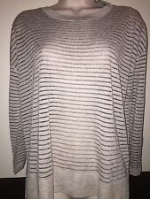 """DAISY FUENTES Womens Long Sleeve Crewneck Sweater""""FOG HEATHER/SILVER Size PM NWT"""