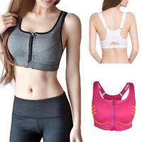 Women Sport Bra Gym Yoga Zipper Stretch Padded Running Fitness Workout Tops Tank