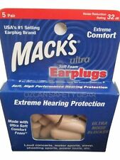 Macks Mack's Earplugs Ultra Soft Foam NRR32 Snore Sleep Sport Tools Music 5 Pair