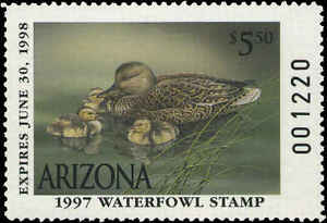 ARIZONA #11 1997 STATE DUCK GADWALL by Sherrie Russell Meline