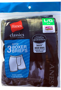 "Hanes BOYS BOXER BRIEFS 3-Pack ""TAGLESS"" COMFORTSOFT NEW 100% Cotton"