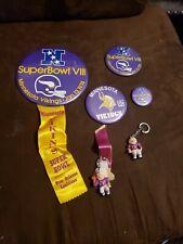 4 Vintage 1975 Super Bowl IX Minnesota Vikings Button Pin