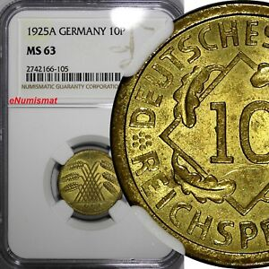 Germany Weimar Republic 1925 A 10 Reichspfennig NGC MS63 GEM BU COIN KM# 40(105)