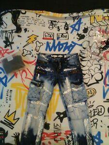 Mens Jeans,Pants,Paint Splatter,Kosmo Lupo,Italy,Italian,Branded,Blue,White,Dry