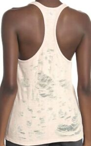 $64 Sold Out ALO Yoga PURE TANK Shirt Top distressed French Terry in PINK-Medium