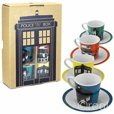 New Doctor Who Set Of 4 Espresso Cups & Saucers Mugs TARDIS Dalek Official